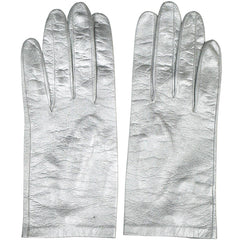 Vintage 1960s Italian Silver Leather Gloves Unused Ladies Size 6.5 - Poppy's Vintage Clothing