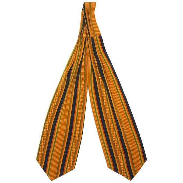 Vintage 1960s Italian Silk Ascot Orange Yellow Blue Green Striped Cravat Italy - Poppy's Vintage Clothing