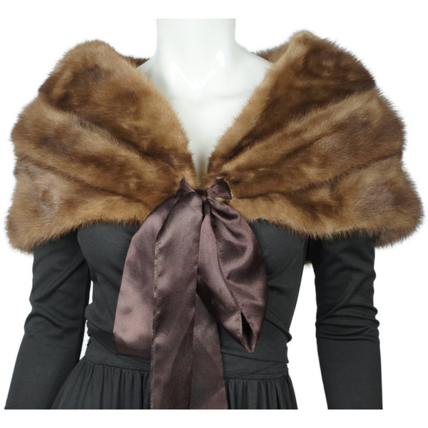 Vintage 1950s 60s Mink Fur Stole Shrug w Ribbon Tie Closure Pastel Brown Size M - Poppy's Vintage Clothing