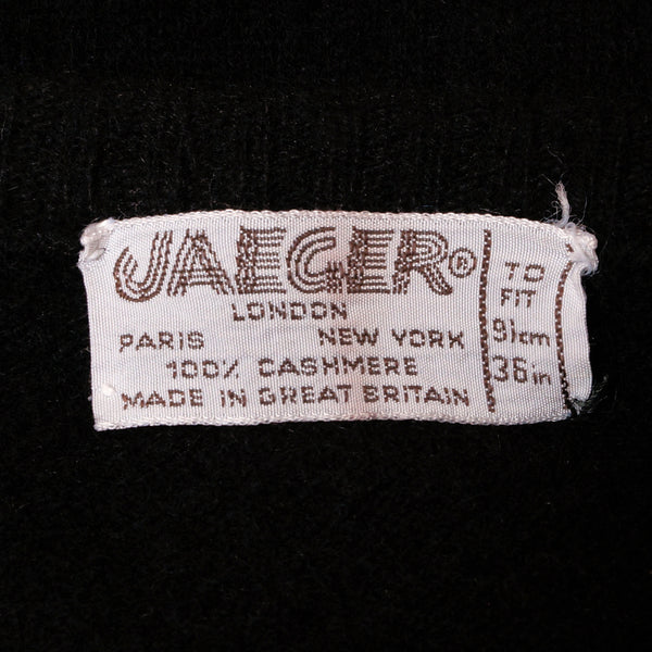 Vintage 1970s Jaeger Cashmere Sweater Black Argyle Pattern Made In Uk Ladies Size M