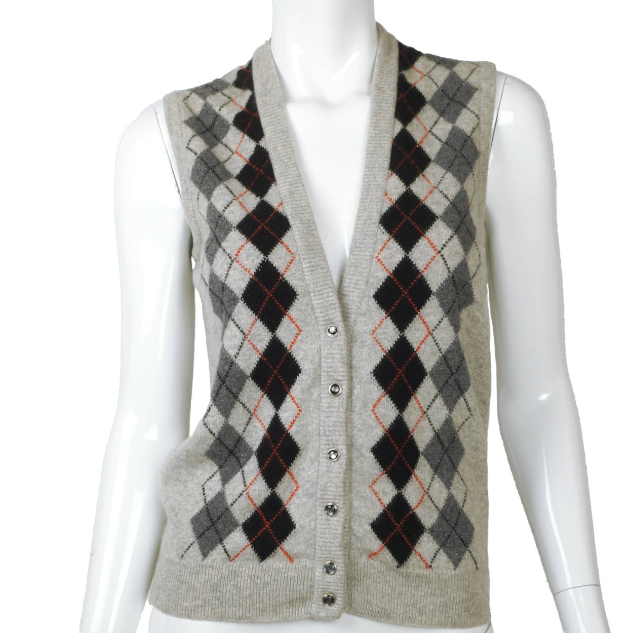 Vintage 1970s Jaeger British Cashmere Sweater Vest Argyle Pattern Ladies M