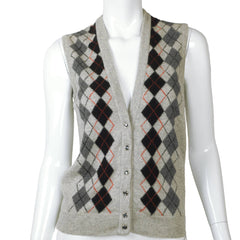 Vintage 1970s Jaeger British Cashmere Sweater Vest Argyle Pattern Ladies M - Poppy's Vintage Clothing