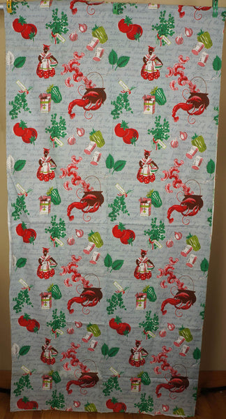Vintage 1940s Kitchen Drape Fabric - Jambalaya Recipe Mammy Print - Poppy's Vintage Clothing