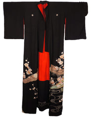 "Antique Kimono Taisho Period Geisha Hikizuri Trailing Kuro Tomesode 69"" Long - Poppy's Vintage Clothing"