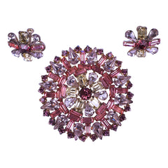 Vintage-Jay-Flex-Rhinestone-Brooch-Earrings