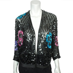 Vintage 70s Jean Jourdan Paris Black Sequin Jacket Size 14 - Poppy's Vintage Clothing