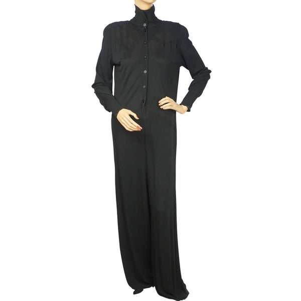 Vintage Jean Muir London Black Viscose Jersey Jumpsuit Size L 12 As Is - Poppy's Vintage Clothing