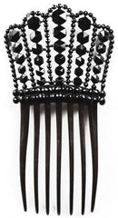 Antique Jet Studded Hair Comb Victorian Era - Poppy's Vintage Clothing