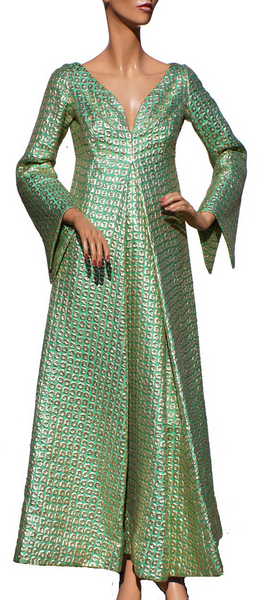 1960s Green & Gold Metallic Brocade Gown - Medieval Princess Style - Poppy's Vintage Clothing