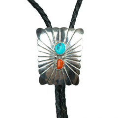 Vintage Julia Etsitty Bolo Tie Southwest Navajo Sterling Silver Turquoise Coral - Poppy's Vintage Clothing
