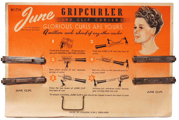 Vintage 1940s June Clips for Gripcurler Hair Curls on Card Made in England - Poppy's Vintage Clothing