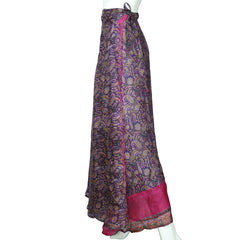 Vintage 1980s Indian Silk Wraparound Skirt Purple Paisley Print M L - Poppy's Vintage Clothing