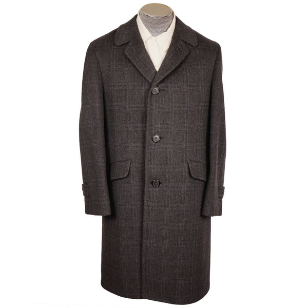 Vintage Mens 1950s Wool Overcoat Checked Coat by Karamoor Excellent Size M - Poppy's Vintage Clothing
