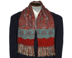 Vintage 1940s 50s Mens Fringed Scarf Hand Printed Paisley Kashmere by Brill - Poppy's Vintage Clothing