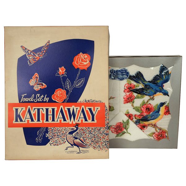 Vintage 1950s Unused Towel Set Blue Birds by Kathaway NOS in Box 3 Pieces - Poppy's Vintage Clothing