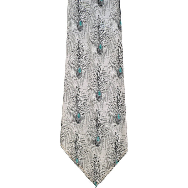 Vintage 1950s Necktie Woven Silk Peacock Feather Pattern Tie Keynote - Poppy's Vintage Clothing