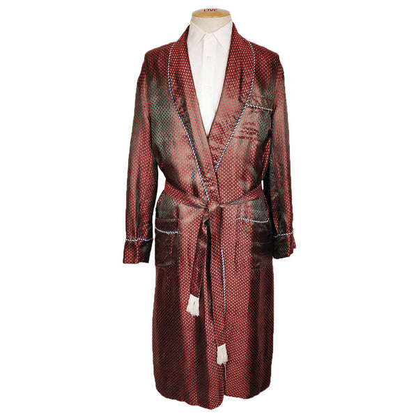 Vintage Mens Dressing Gown Two Tone Woven Satin Robe Khanel Oustaz Egypt Size L XL - Poppy's Vintage Clothing