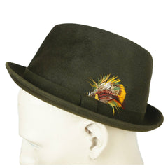 Vintage 1960s Kingsway Trilby Fedora Hat Green Fur Felt Simpsons Sears Sz 7 1/8 - Poppy's Vintage Clothing