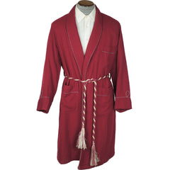 Vintage 50s Dressing Gown Red Wool Lounging Robe Mens M - Poppy's Vintage Clothing