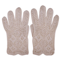 Vintage Crochet Lace Gloves Off White Hand Made Ladies Size Medium - Poppy's Vintage Clothing