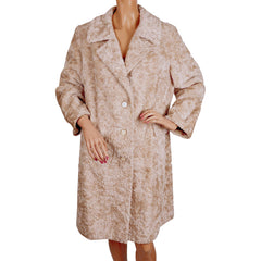 Vintage 60s Faux Fur Swakara Coat Bagdad by Fairmoor Lafrance Fabric Ladies Size M - Poppy's Vintage Clothing