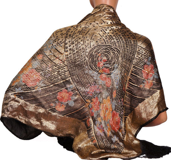 20s Vintage Shawl in Art Deco Gold Lame Floral Pattern w/ Black Tassels - Poppy's Vintage Clothing