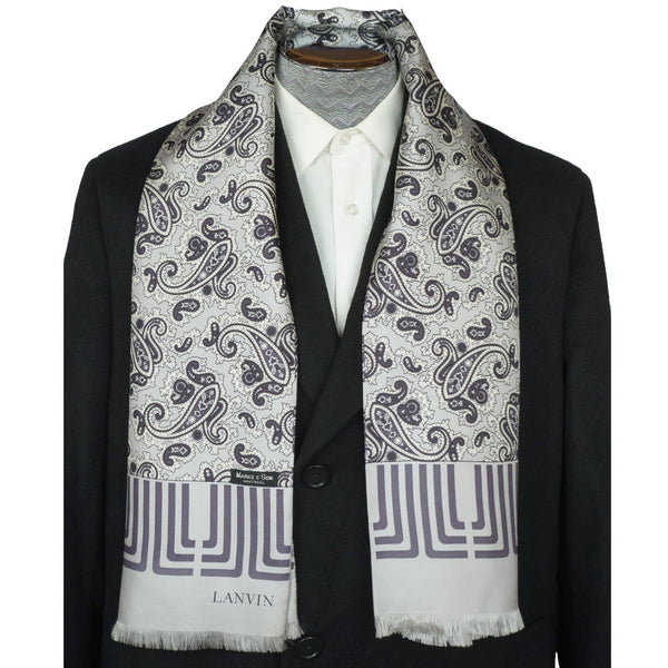 Vintage 1970s Lanvin Paris Mens Silk Dress Scarf Silver Grey w Paisley Pattern - Poppy's Vintage Clothing