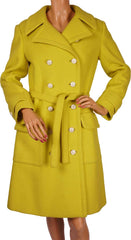 1960s Vintage Coat by Lanvin Paris in Chartreuse Yellow Wool - Poppy's Vintage Clothing