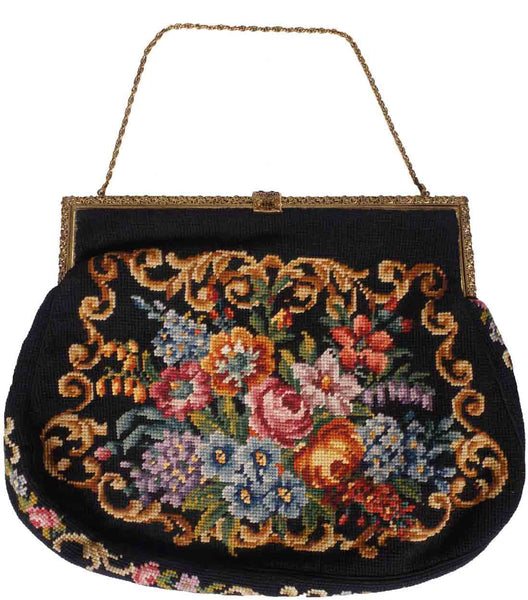 Vintage 1940s Needlepoint Tapestry Purse Large Handbag - Poppy's Vintage Clothing