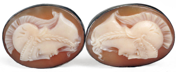 Vintage Silver & Carved Cameo Cufflinks with Amazon Centurion Design - Poppy's Vintage Clothing