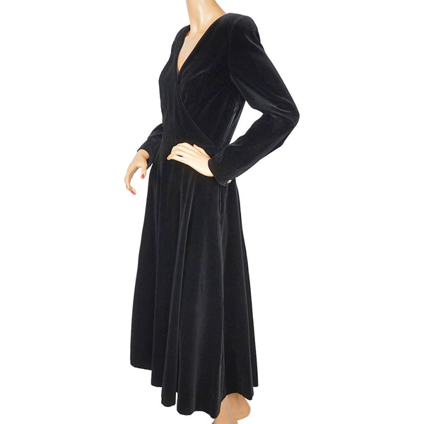 Vintage-Laura-Ashley-Black-Velvet-Dress