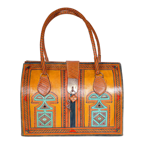 Large Leather Satchel Handbag Hand Painted North African - Poppy's Vintage Clothing