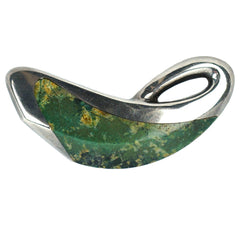 Vintage Ledesma Modernist Brooch Pin Taxco Mexican Sterling Silver w Moss Agate - Poppy's Vintage Clothing