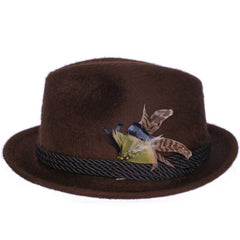 Vinatge-Lee-Brown-Plush-Fur-Felt-Fedora-Left-Side-View