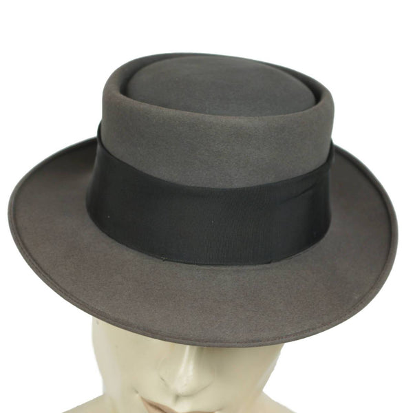 Vintage Pork Pie Hat 1940s 50s Flat Top Fedora Lee Fifth Avenue 7 1/8 - Poppy's Vintage Clothing