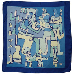 Vintage Liberty of London Silk Scarf Blue Cubist Figural Pattern Exceptional  - Poppy's Vintage Clothing