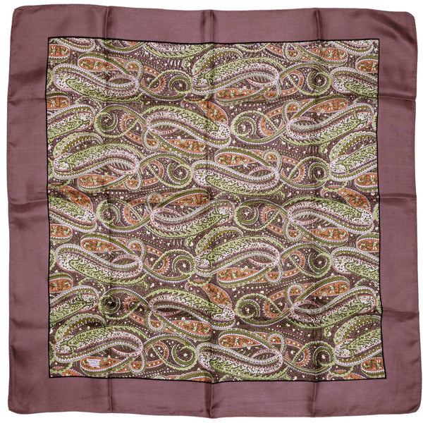 "Vintage 60s Liberty Silk Scarf 1960s Paisley Print Brown Green Orange Square 23"" - Poppy's Vintage Clothing"