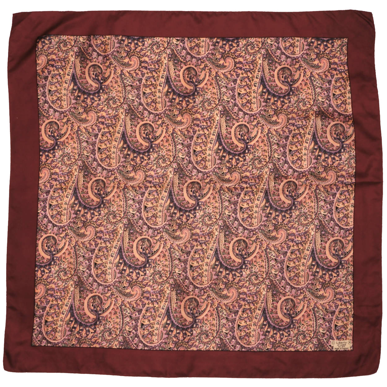"""4ab71c21f41a6 Vintage Liberty of London Silk Scarf 1960s Psych Paisley Print Square 27"""" -  Poppy's Vintage Clothing"""
