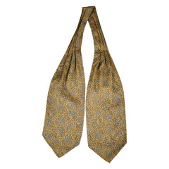 Vintage Liberty of London Silk Ascot Ochre Gold Cravat w Grey Paisley Pattern - Poppy's Vintage Clothing