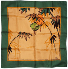 Vintage 50s Liberty of London Silk Twill Scarf with Japanese Lantern Design - Poppy's Vintage Clothing