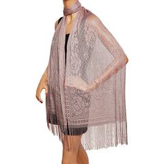 Vintage 1930s Fringed Shawl Machine Lace Stole Scarf Lilac Purple Rayon - Poppy's Vintage Clothing