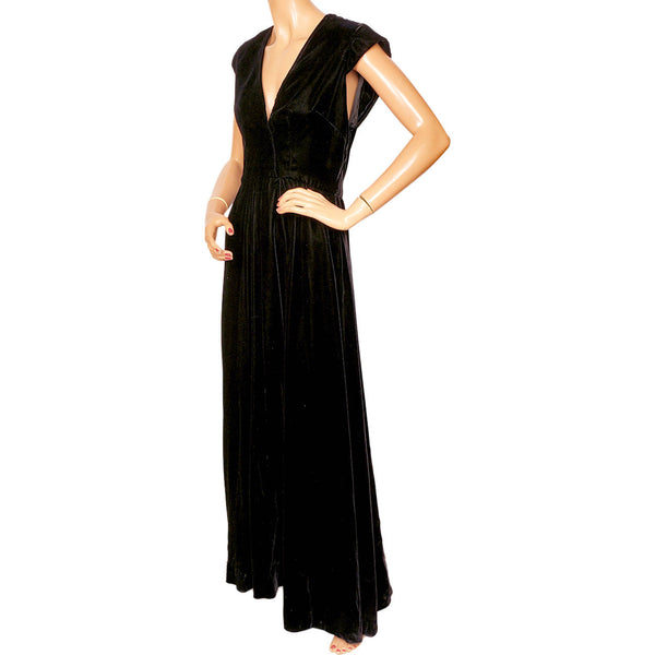 Vintage-1970s-Lillie-Rubin-Black-Velvet-Evening-Dress-Side-View