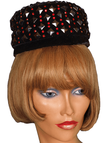 Vintage Lilly Dache Pillbox Hat - 1950s or early 1960s  - Black Velvet w Red Rhinestones Size S - Poppy's Vintage Clothing