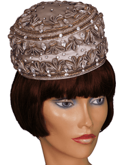 Vintage Lilly Dache Pillbox Hat - 1950s or early 1960s - w Gold & Silver Braid & Rhinestones Size S