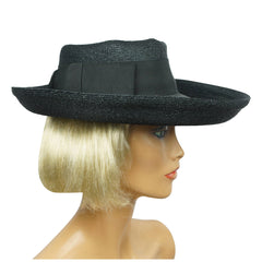 Vintage 1950s Lilly Dache Dachettes Hat Wide Brim Black Straw Size Small - Poppy's Vintage Clothing