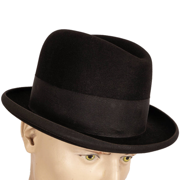 Vintage Lock and Co English Homburg Hat - Black Formal Fedora Size 7 1/8 to 7 1/4 - Poppy's Vintage Clothing