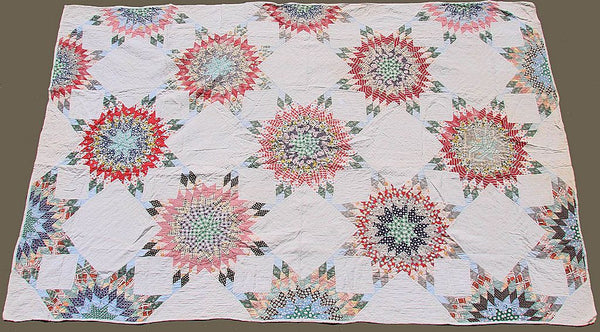 Vintage 1930s Quilt Lone Star Pattern - Hand Sewn - Poppy's Vintage Clothing