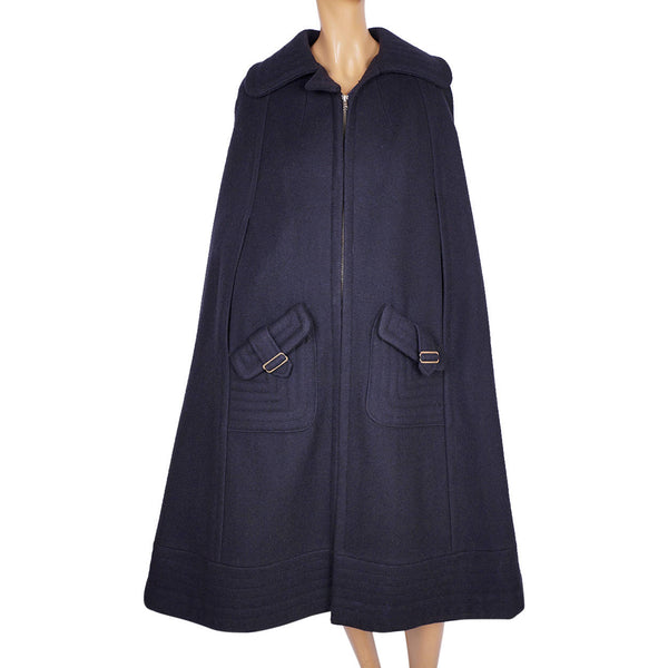 Vintage 1960s Mod Wool Cape Lou Ritchie for Rainmaster Canada Size S - Poppy's Vintage Clothing
