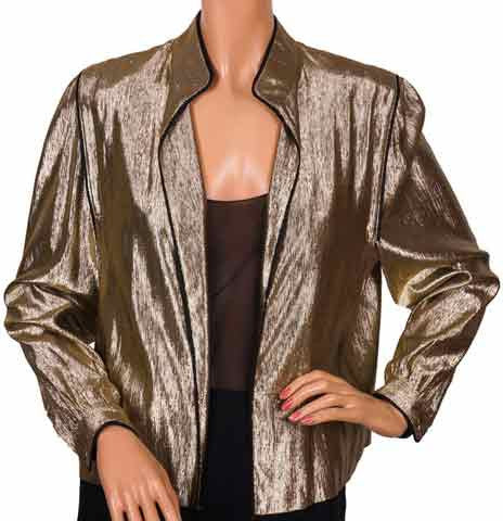 Vintage 1980s Louis Feraud Gold Lamé Jacket Ladies - Size 10