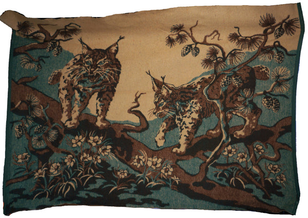 Antique Wool Blanket 1920s Scenic Lynx in Tree Wall Hanging Sleigh Lap Cover - Poppy's Vintage Clothing